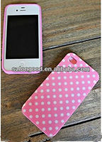 Soft Plastic Silicone Hybrid Colorful Polka Dot Pattern Case for iPhone 4 4S