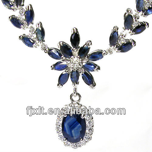 925 Sterling Silver Sapphire Necklace