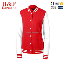 Girls letterman jacket jersey cotton long sleeves varsity jacket red white