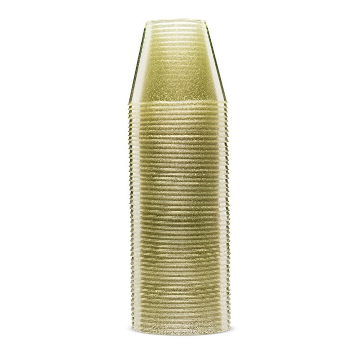 High quality 9oz disposable gold glitter plastic <strong>cup</strong> for party or wedding