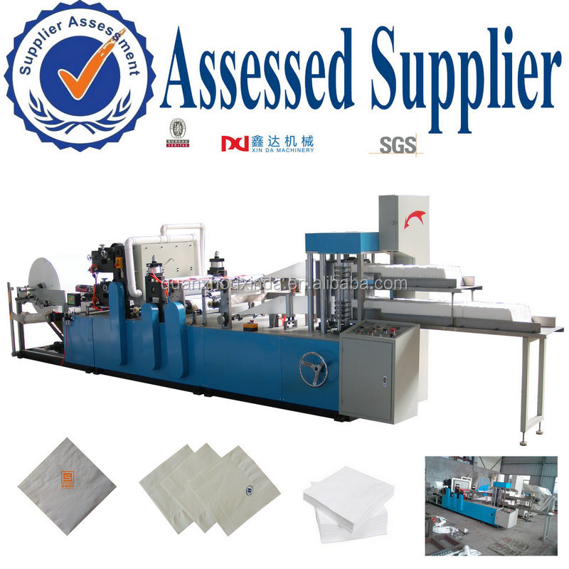 High production company logo printed folding napkin tissue converter machine/embossed counting serviette paper cutting equipment