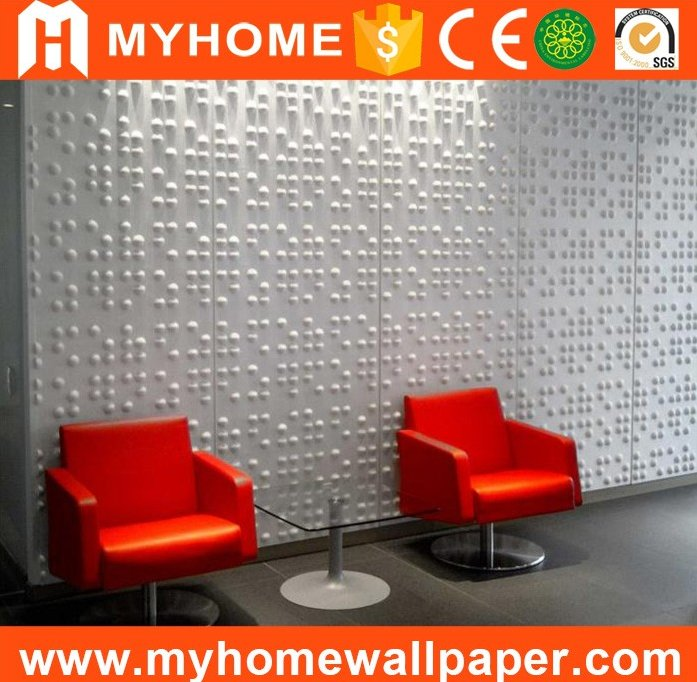 Durable Living Room TV Background Interior Decorative Vinyl Wallpanel Embossed 3D PVC White Wall Panel
