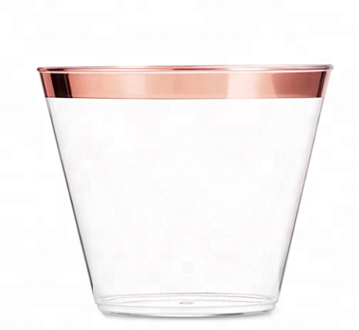 Rose Gold Rim 9 oz Disposable Plastic <strong>Cups</strong> For Party