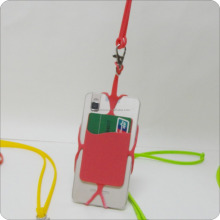high quality silicone cell phone lanyard strap with ID card holder