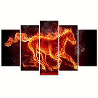 Running Fire Horse Photo Art Print/stallion Poster Wholesale/Abstract Animal Canvas Wall Art