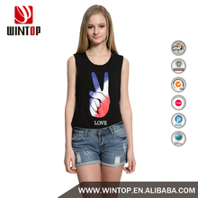 Wintop 2016 Summer Women's Print Tops Love Ombre Peace Sign Raw Edged Tank Top Fancy Colorful Printed Round Neck Tank Top
