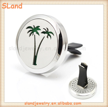 Hollow-out Palm Tree 30MM Stainless Steel Car Vent Clip Perfume Diffuser Lockets for DIY Aromatherapy Essential Oil color pads