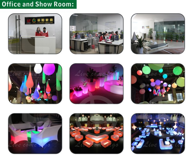 Solar PE Plastic Illuminated Lighted Planter LED RGB Flower Pot with Different Size LGL01-0613/0612/0611