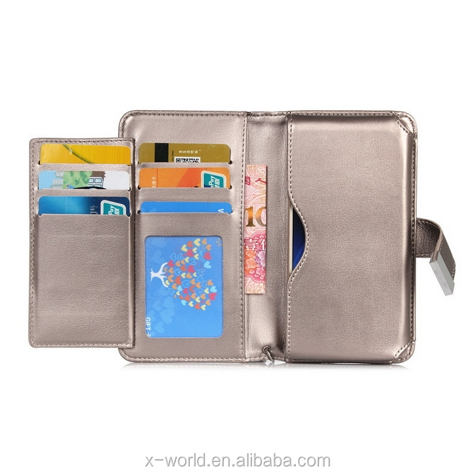 5.5inch 2 in 1 universal smart phone wallet style leather case