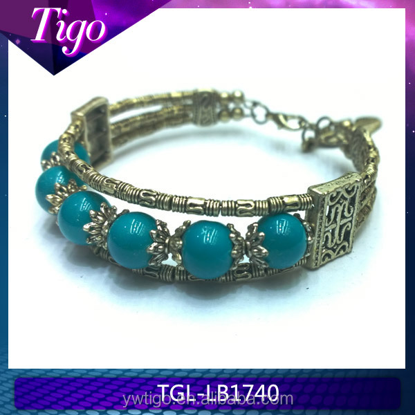 Wholesale zinc alloy and glass beads native american bracelet