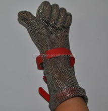 extended cuff stainless steel <strong>safety</strong> cut proof protect metal mesh butcher gloves