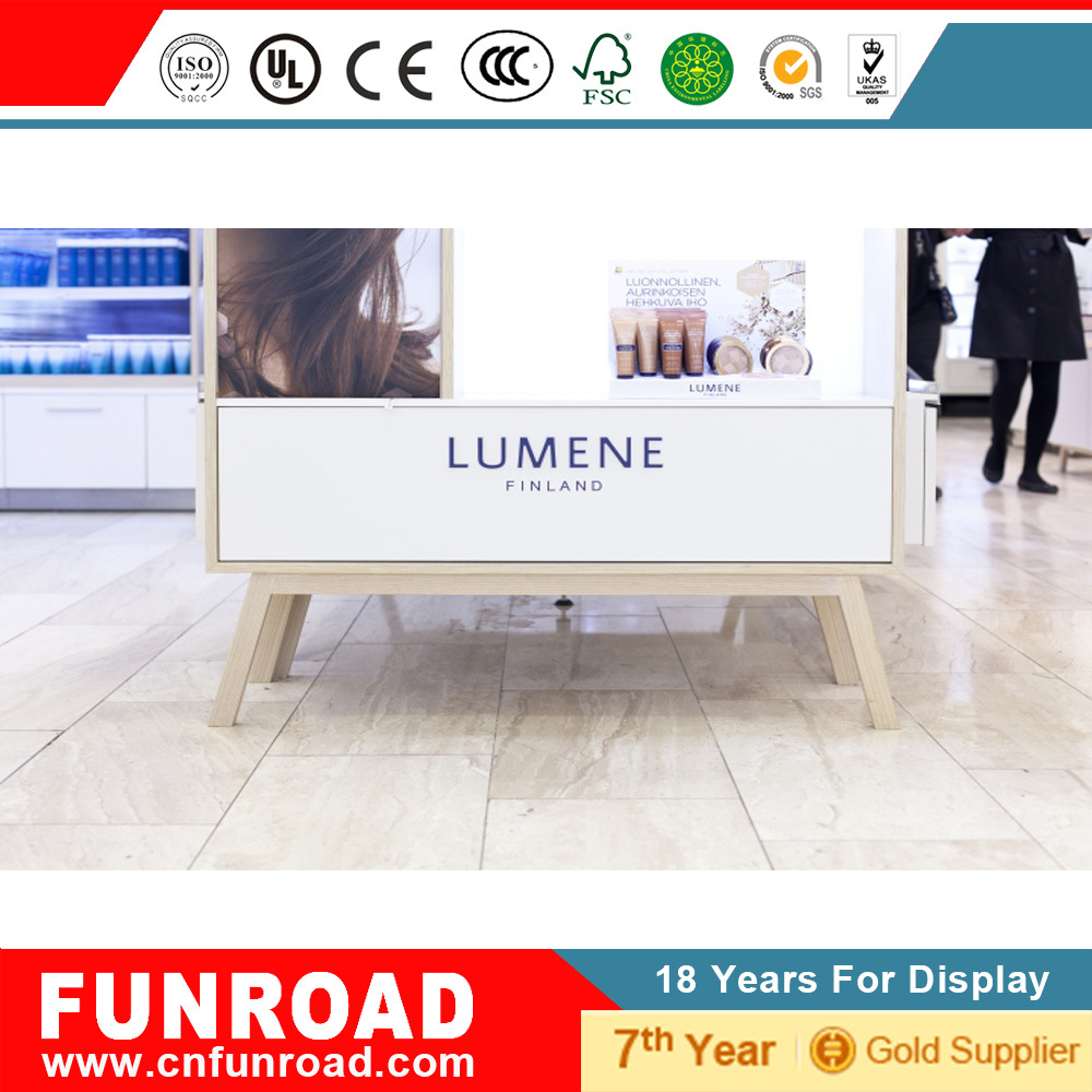 Funroad cosmeic store wall shelves with backlit panel display