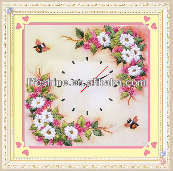 hand made ribbon embroidery decor clock kit craft