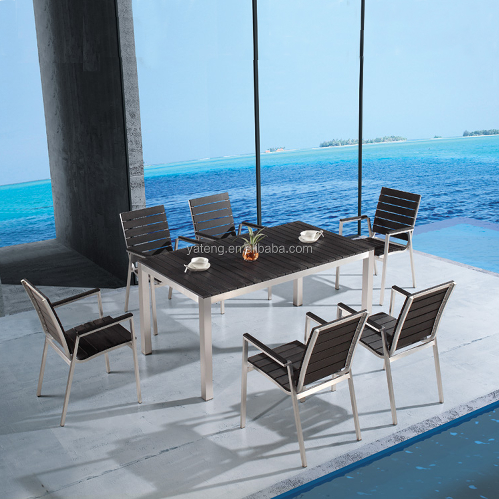 cheap wpc board garden furniture plastic garden table and chairs