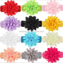 12 colors Girls Headband Kids Infants Crochet weave Hairband & Big Chiffon flowers Headbands Children hair Accessories
