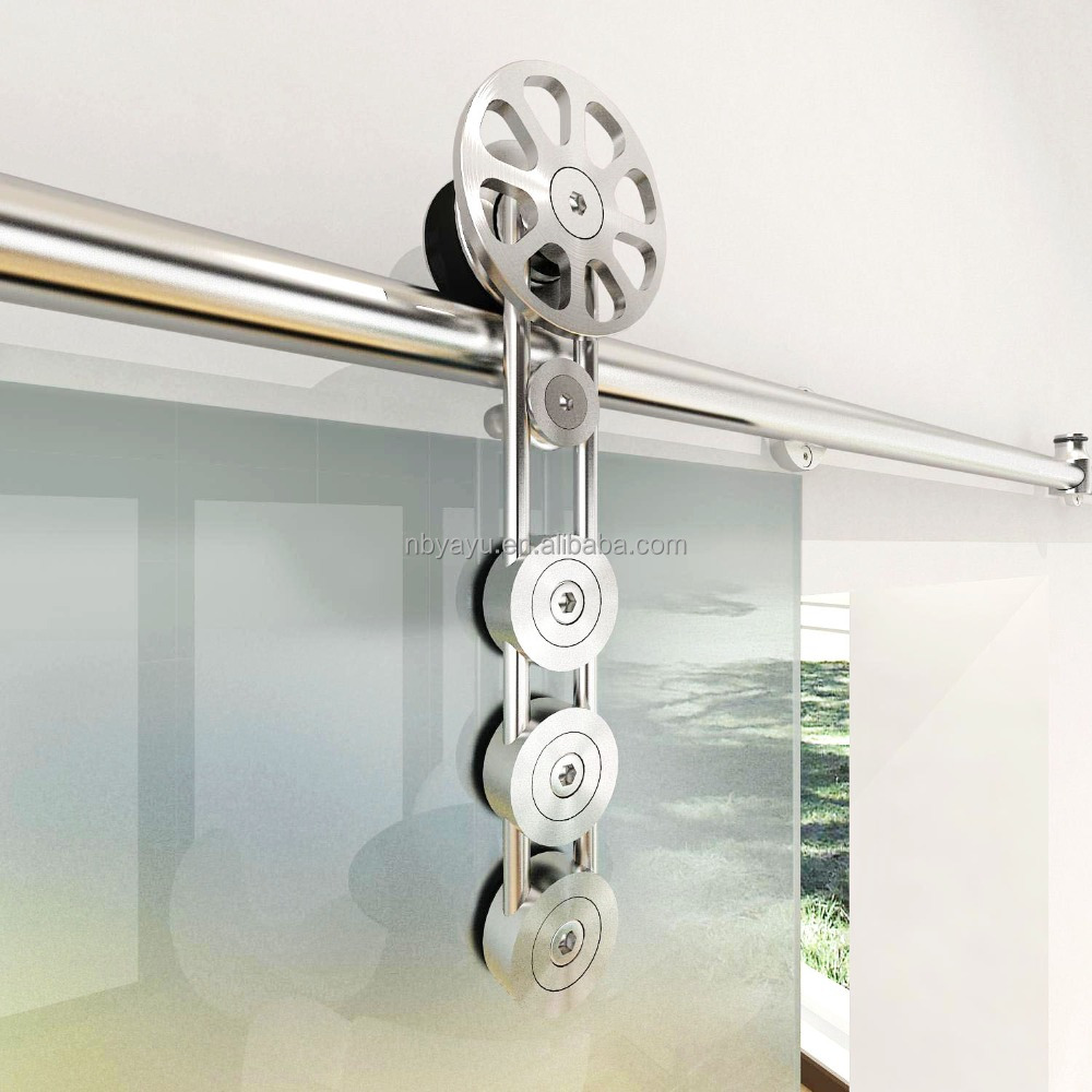New design stainless steel top hanging sliding glass door track roller