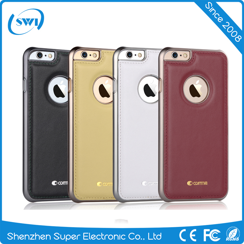 100% Genuine Leather Slim Electroplating PC Back Shell Cover Case Skin For iPhone 6 6S Plus