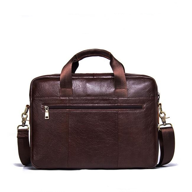Wholesale Custom Men Genuine Leather Laptop Briefcase Shoulder Messenger Bag
