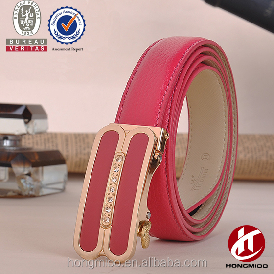 Brass buckle with rhinestone full grain leather women automatic buckle belt