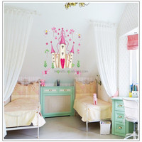 new arrival Removable Pink Princess Castle Girl room Tower Wall sticker for Girls/Kids/Children Bedroom Wall Mural DF5083