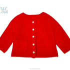 wholesale baby clothes/baby girl's round neck plain wool cashmere blend cardigan Christmas sweater