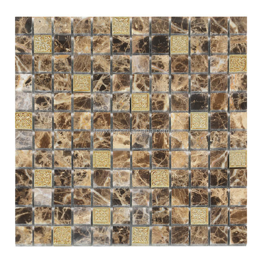 China Mosaic Manufacture Mix with Stone Metel Resin mosaic tile