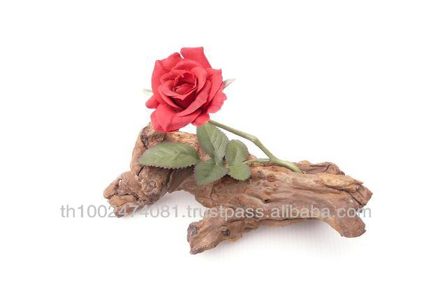 Valentine flower on natural wood