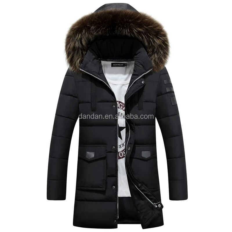Wholesale bulk fur collar hood men life winter jacket with pouch pockets