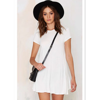 lady casual white jersey latest designs dress