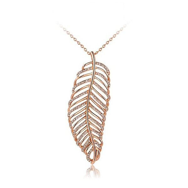 Latest Fashion Design Rose Gold Feather Pendant Necklace