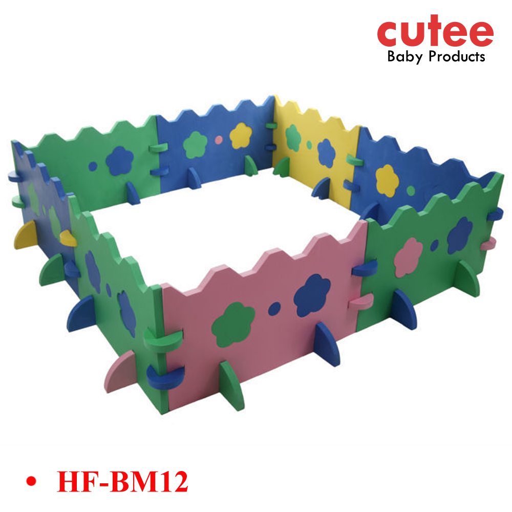Large Extendable Foldable Square EVA Safety Girl Playpen For Babies