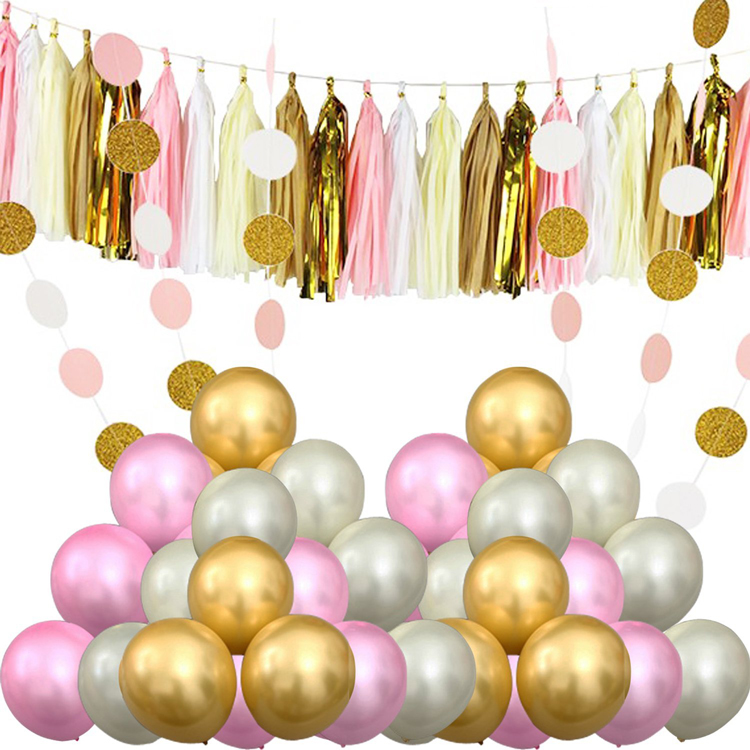 60 Pcs Party Balloons and 20 Pcs Paper Tassel & 2 Pcs Polka Dot Paper - Perfect for Birthdays, Weddings