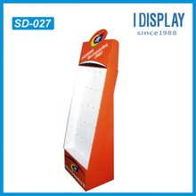 5 rows hook cardboard display stand for supermarket promotion