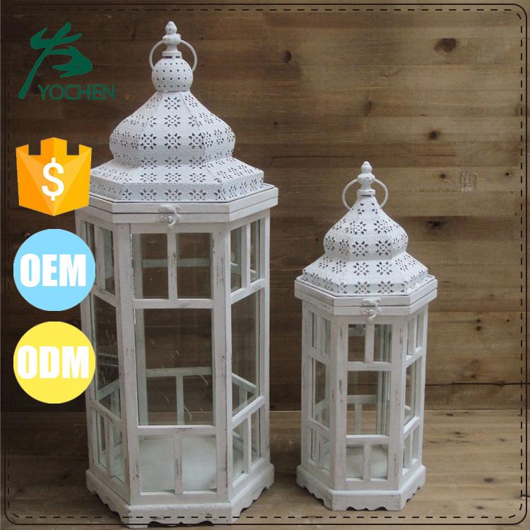 Large garden vintage decorative white wooden lantern with for Wooden garden lanterns