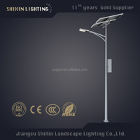 solar led street light lens price with pole 5-10m