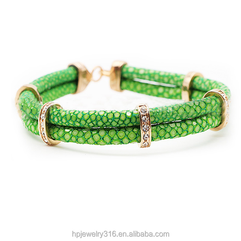 5% discount! men's fashion gold plating charm jewelry stingray skin leather bracelet cord double new design lime green bracelet
