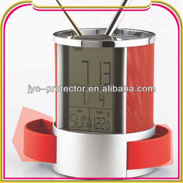 R1497 calendar pen holder with thermometer