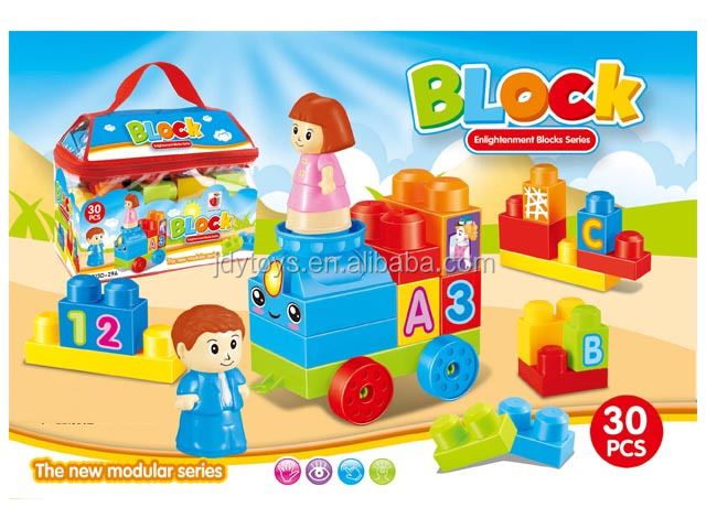 New item Intelligent portable bag plastic big building block toy 30pcs 55pcs 86pcs