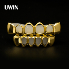 Men's Grillz Real Gold Plating HIP HOP Hollow Top and Bottom Row HIGH QUALITY Golden Teeth