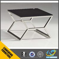 Black painting glass coffee table suit for general managers' office