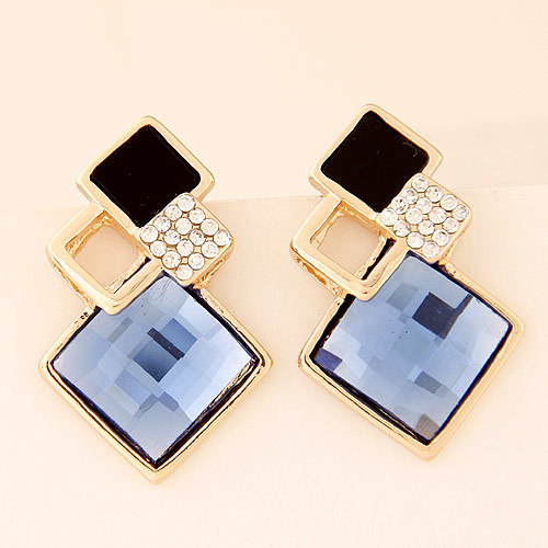 Refinement Designer Geometric Squar Fashion Costume Jewelry Accessories Glass Rhinestones Women Charm Statement Stud Earrings