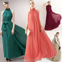 Wholesale Women High Neck Halter Chiffon Long Party Dress With Belt