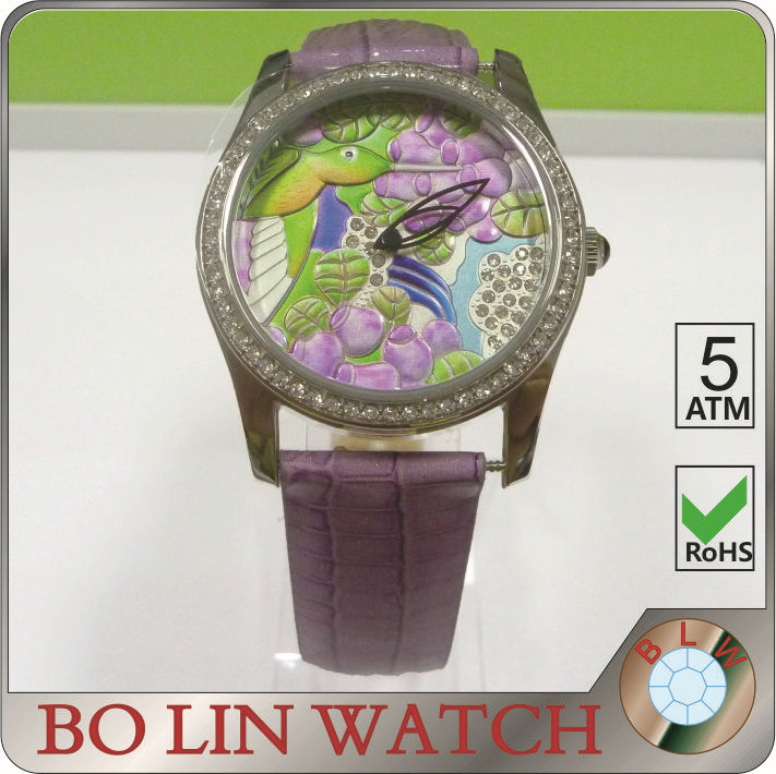 ladies watch/stainless steel case/japan movement/CNC jewelry/IPS/emboss face, leather watch emboss dial