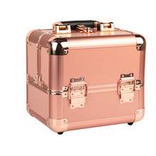 Fashion gold aluminum portable makeup train cosmetic storage case