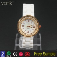 plated gold i-ring wrist watch special design sea shell dial with small fake diamond decorations
