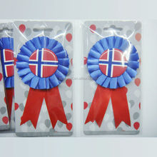 Hot 2014 Handmade Award Ribbon Rosette With Country Flag On,Flower Round Ribbon Rosette Badge,Profession Ribbon Maker&Supplier