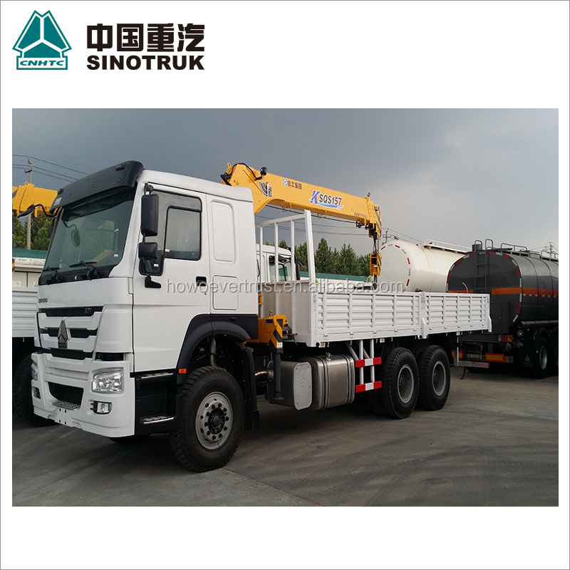 low price 371hp SINOTRUK HOWO cargo truck mounted crane 6 ton truck crane for sale
