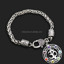 New Arrival Eco-friendly Alibaba Wholesale Silver Plating Crystal Chakra Yoga Pendant Bracelets