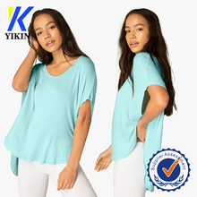 OEM 100% modal cotton white t shirt curved hem dolman sleeve t-shirts short front long back top with side open