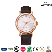 KYT Date Display Water Resistant Japan Quartz Stainless Steel Gold Plated Wrist Watch